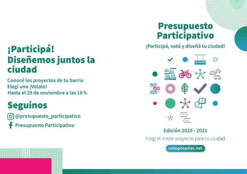 Presupuesto Participativo: del 21 al 29 de noviembre se podrán conocer y votar los proyectos