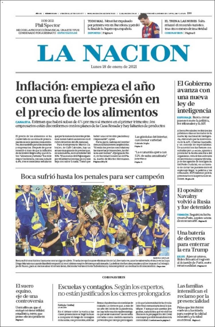 Las tapas del lunes 18: Boca campeón; preocupa la inflación en alimentos